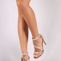 Anne Michelle Asymmetrical Strappy Rhinestone Open Toe Stiletto Heel