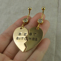 Set of two belly button rings, bestfriend bellybutton jewelry ,best bitches belly ring,bff gift