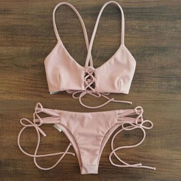 Pink Bikini Swimsuits Two Pieces + Free Gift Summer Necklace