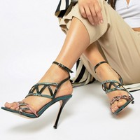River Island caged heeled sandals in green at asos.com