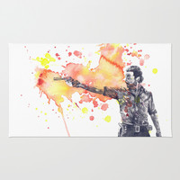 Portrait of Rick Grimes from The Walking Dead Area & Throw Rug by idillard