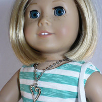 SALE - 18 inch doll dress (modelled by American Girl), striped dres with lace bag and necklace