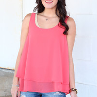 Layered Chiffon Tank {Hot Coral}