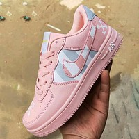Onewel Nike air force 1 X Off-White Stripe Cross Sneakers Women Men Shoes Pink