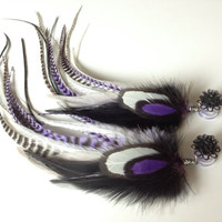 Feather Plugs, Purple Feather Earrings for Gauged Ears - Multiple Sizes Available 2g, 4g, 6g, 8g, 0g, 00g Dangle Plugs