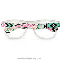 Aztec print glasses Tribal trend fashion glasses unique hand painted - pastel pink teal natural black