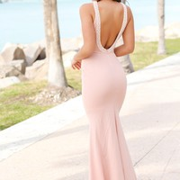 Blush Maxi Dress with Open Back and Pearl Detail