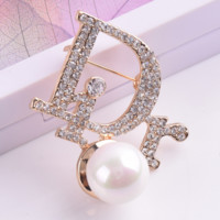 DIOR New fashion letter big pearl more diamond brooch accessories