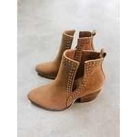 Swan Studded Bootie, Camel