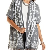Fringed Poncho Cardigan by Charlotte Russe - Gray Combo