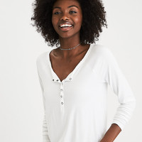 AEO Soft & Sexy Long-Sleeve Henley T-Shirt, Natural White