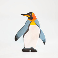Wooden King Penguin toy north pole animal figurine play set wood toys for kids learning toy birthday gift play space