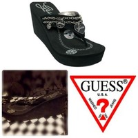💍Black Guess Platform Heel Flip flops with Charms
