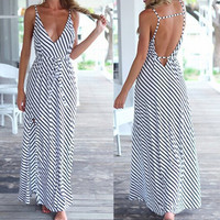 Black and White Striped Bohemian V-Neck Backless Dress