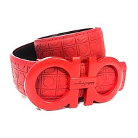Salvatore Ferragamo Belt Red Leather Red Buckle Men 38 Birthday Gift SQ