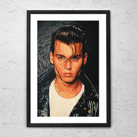Cry Baby - Johnny Depp, Illustration - Wall Art Poster - Fine Art Print for Interior Decoration