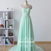 2015 New Long Formal Mint Green Crystal Prom Dresses Crystal Formal Mint Green Eevening Party Dresses