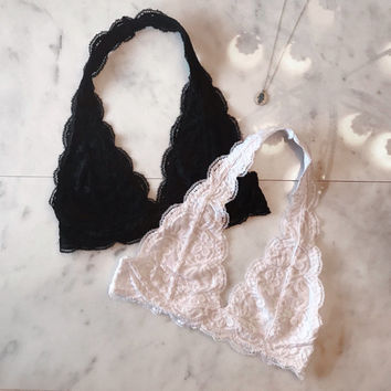 Scalloped Halter Lace Bralette -  black and white, Lined, adjustable hook and eye closure, bralettes bras tops lacy halter neck