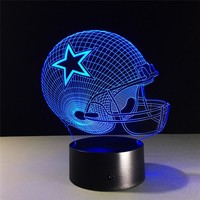 Acrylic USB LED Dallas Cowboys Helmet Night Light Novelty 7 Color Changing Touch Art Indoor Desk Lamp Home Decor Lamp Gifts