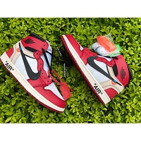 OFF-WHITE x Air Jordan 1 red white Basketball Shoes 36-47