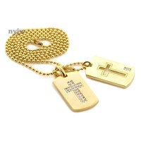 """NEW TUPAC CROSS DESIGN DOUBLE DOG TAG 18k GOLD FILLED W 30"""" BALL CHAINS DTC005GS"""