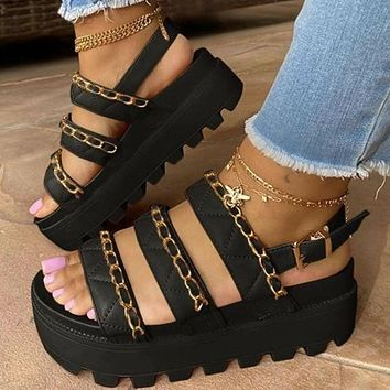 Summer new fashion chain platform sandals shoes