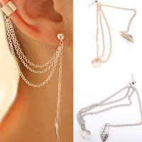 Stylish punk rock women girl leaf chain tassel dangle ear cuff wrap earring