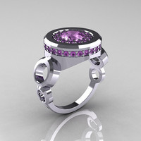 Modern DKNY Style 18K White Gold 10 Carat Lilac by artmasters