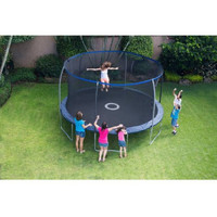 Kids Enclosed Outdoor Trampoline with Safety Net & Electronic Shooter Game
