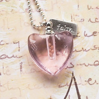 Mustard seed faith glass vial and charm necklace (pink)