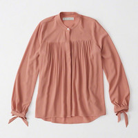 Womens Pleated Solid Blouse | Womens Tops | Abercrombie.com