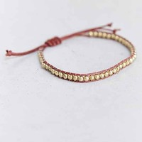 Gold Beaded Cord Bracelet- Brown One