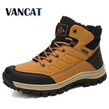 Brand Winter Men Snow Boots Warm Plush Men's Boots Waterproof Leather Ankle Boots Outdoor Non-slip Men's Hiking Boots Sneakers