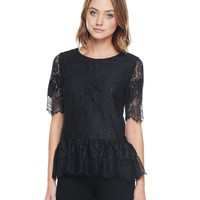Pitch Black Striped Lace Top by Juicy Couture,