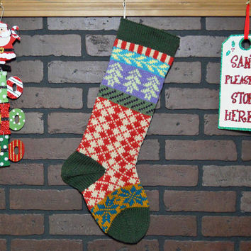 Argyle Christmas Stocking, Hand Knit Fair Isle Christmas Stocking with Soft Fern Green Trees and Teal Snowflakes, can be personalized, gift