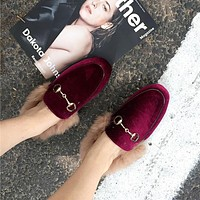 Women Retro Fashion Velvet Plush Half Drag Slippers Flats Shoes