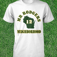 Mr Rodgers Neighborhood T Shirt Aaron Rodgers Tshirt Green Bay Packers Tee Shirt Womens Packers Tee Mens Size S M L XL Cotton Short Sleeve