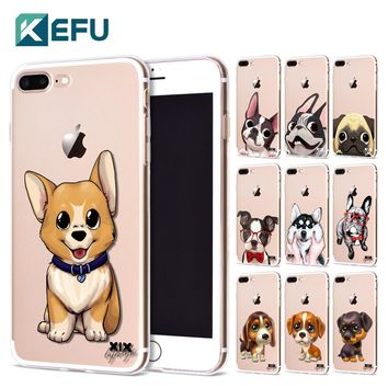 KEFU for Funda iPhone 5S case 6 8 X Cute Dogs Soft Silicone TPU for Cover iPhone 6S Case New Arrivals for Coque iPhone 7 Case