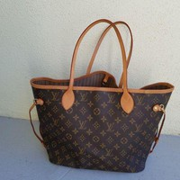 DCCKHI2 Louis Vuitton Monogram Canvas Neverfull MM Brown Tote Bag