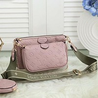 LV Louis Vuitton Hot Selling Solid Color Classic Three-piece Set Fashion Ladies One Shoulder Crossbody Bag Chain Bag Coin Purse