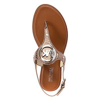 Women's | MICHAEL Michael Kors Aubrey Charm Thong - Nickel Snake Leather - FREE SHIPPING at Shoes.com