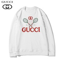 GUCCI stylish casual couple round-neck hoodies are hot sellers of embroidered pure cotton terry hoodies White