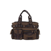 Vintage Steampunk Brown Striped Belted Key Charm Handbag