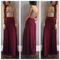 A Basic Maxi Skirt in Burgundy