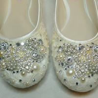 TWINKLE TOES Ballet Flats ... vintage lace, Swarovski crystals, pearls and glass embellishments