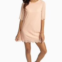 Pale Pink Scalloped Trim 3/4 Sleeve Chiffon Dress