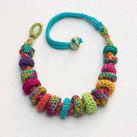 Colorful statement necklace, knit crochet fiber jewelry with bamboo beads, OOAK
