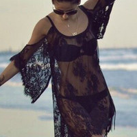 Black Floral Sheer Lace Kaftan with Cut -Out Sleeves