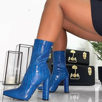 Printed shoes high heels ankle fur warm boots for women