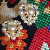 Opulent Rainbow Gem and Pearl Cluster Bead Statement Earrings, Awesome 80s Glamour Jewelry, even Better Pride Wedding Jewelry!